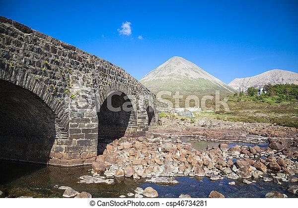 The old bridge at Sligachan on the Isle of Skye, Scotland - csp46734281