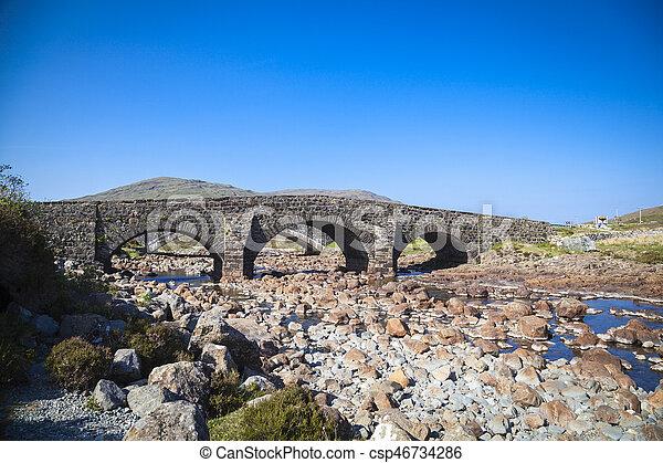 The old bridge at Sligachan on the Isle of Skye, Scotland - csp46734286