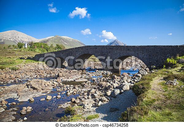 The old bridge at Sligachan on the Isle of Skye, Scotland - csp46734258