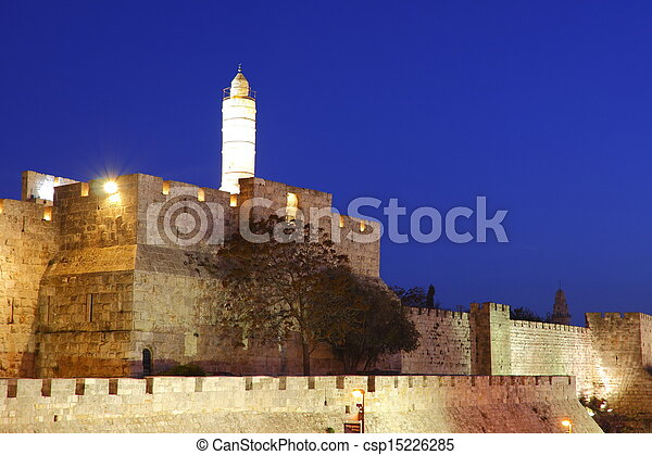 The old city wall of Jerusalem - csp15226285