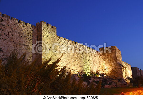 The old city wall of Jerusalem - csp15226251