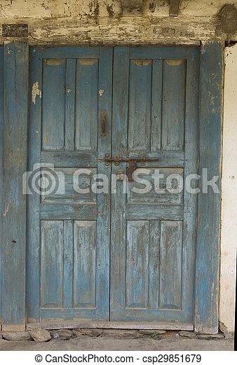 The old door with ed paint, background. The old wooden door ... Wooden Door Paint Pics on