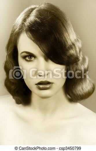 The Old Fashion Coiffure Nice Poertarit On Dark Background Of