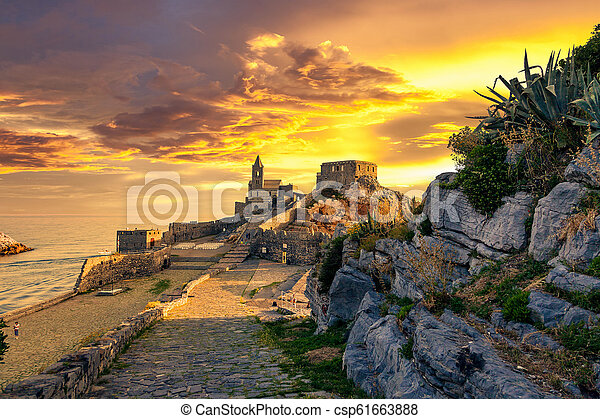 The old medieval castle in the Italian town of Porto Venere at sunset - csp61663888