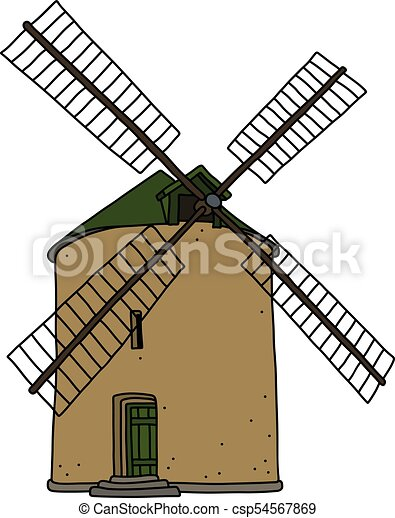 the old stone windmill the hand drawing of an old strone clip rh canstockphoto com windmill clipart black and white windmill clip art black white