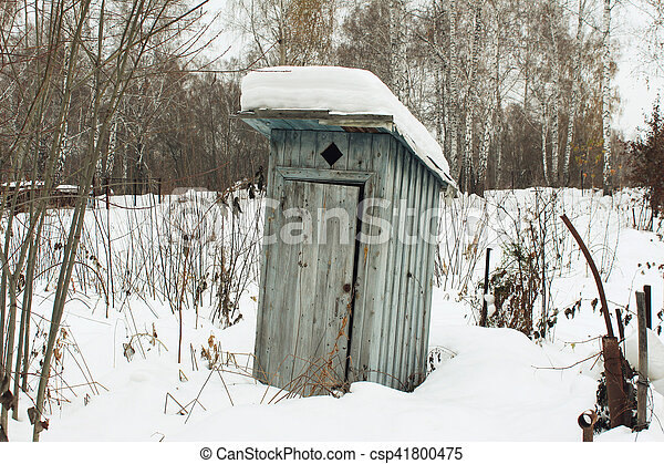 The old toilet is the area of a country house in the winter - csp41800475