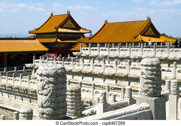 The palace in The Forbidden City, Beijing - csp6467289