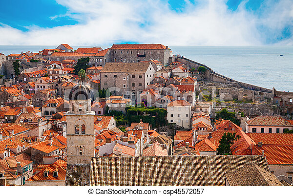 the part of Dubrovnik Old Town from its City Walls - csp45572057