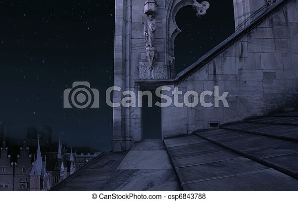 The part of the old castle at night - csp6843788