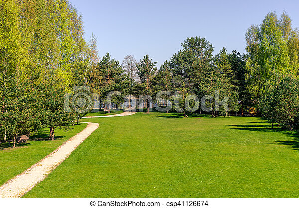 The pathway in the park in early spring - csp41126674