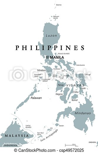 The Philippines Political Map With Capital Manila English Labeling
