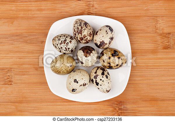 The picture quail eggs - csp27233136