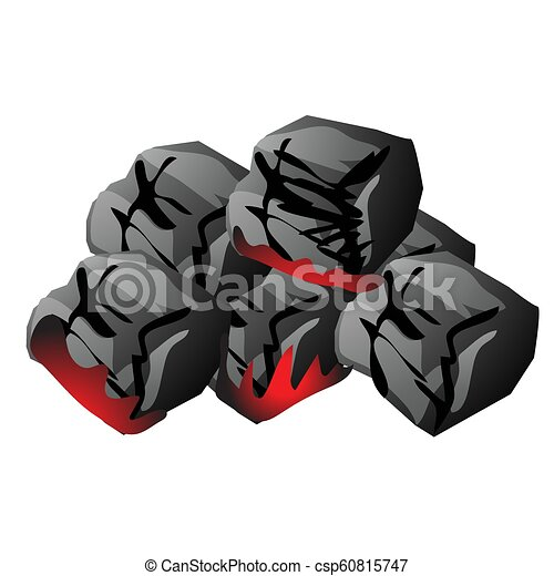 The pile of hot wooden embers isolated on white background. Vector cartoon close-up illustration. - csp60815747