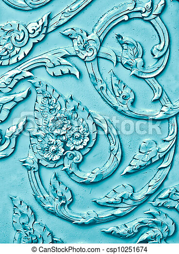 The Pink stucco design of native thai style on the Wall - csp10251674