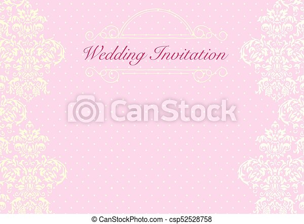 The Pink Wedding Invitation Card Background Template With Pattern Ornament