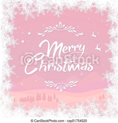 Christmas Background Clipart.The Pink Winter Christmas Background And Snowflake Border