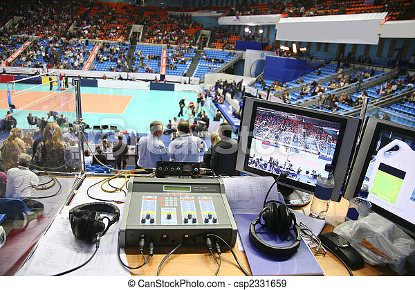 the place of commentator on the sport competition is working - csp2331659