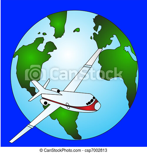 the plane moving around globe in air spaces