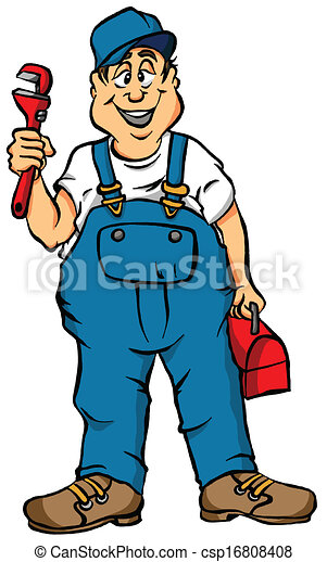 The plumber. Vector cartoon of a plumber ready for work.