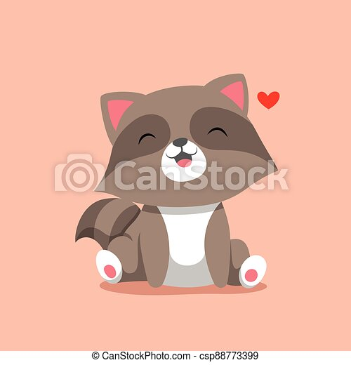 The raccoon sitting with the happy face and little love beside him - csp88773399