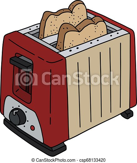 The red and beige electric toaster - csp68133420