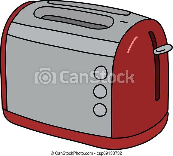 The red and steel electric toaster - csp69133732