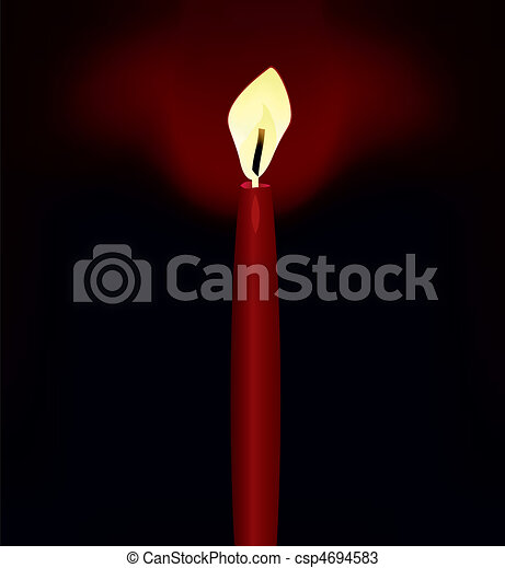 The red candle shines darkness. A vector illustration - csp4694583