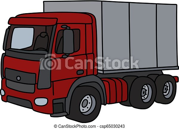 The red cargo truck - csp65030243