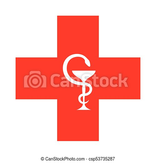 The Red Cross (with the bowl of Hygeia) - csp53735287
