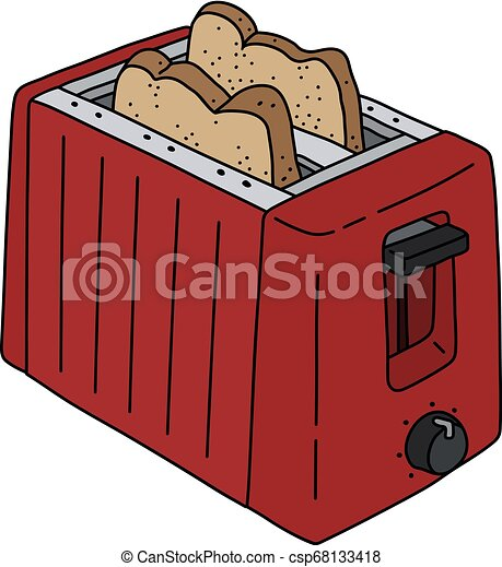 The red electric toaster - csp68133418