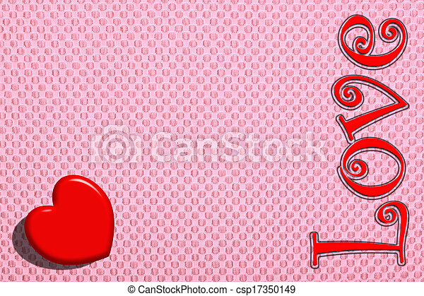 The red heart on a pink background - csp17350149