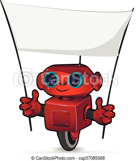 The red robot with a poster - csp37085568