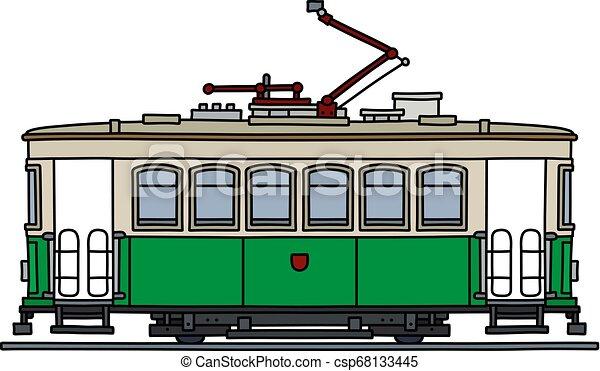 The retro green tramway - csp68133445