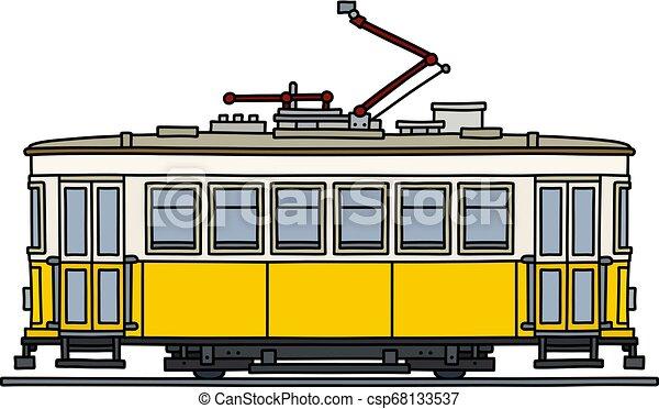 The retro yellow tramway - csp68133537