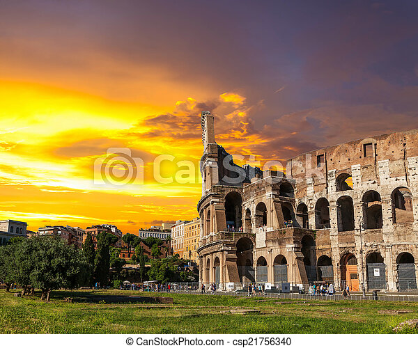 The Roman Coliseum at sunset. - csp21756340