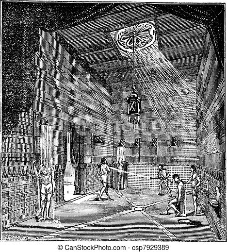 The roman period Shower room vintage engraving - csp7929389