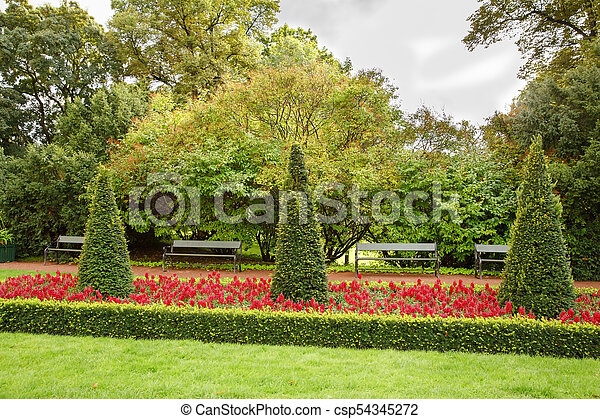 The Royal Palace park in Oslo - csp54345272