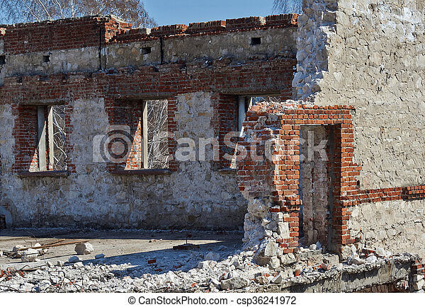 The ruins of an old building . - csp36241972