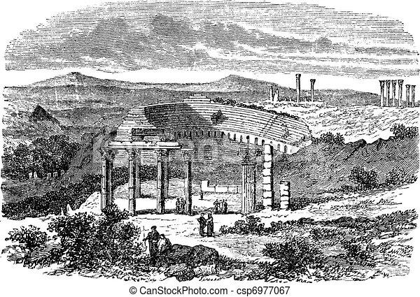 The ruins of Gerasa in Jordan vintage engraving - csp6977067