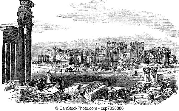 The ruins of Palmyra in Syria vintage engraving - csp7038886