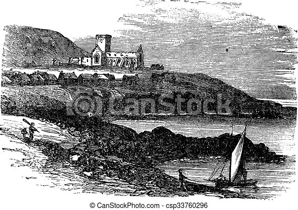 The ruins of St Mary's Abbey in Iona Scotland vintage engraving - csp33760296
