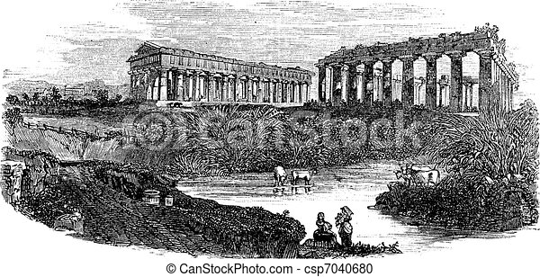 The ruins of temples at Paestum in Campania Italy vintage engraving - csp7040680
