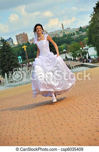 The running bride - csp6035409