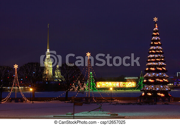 The Russian Federation, Saint Petersburg. The historic center of the city. Christmas tree on the spit of Vasilievsky Island. Urban photography in the evening light.  - csp12657025