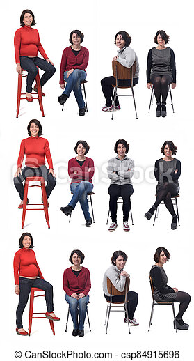 the same woman in different outfits and pregnant sitting in a chair on white background - csp84915696
