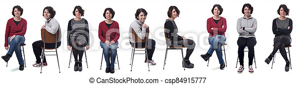 the same woman in different outfits sitting in a chair on white background - csp84915777