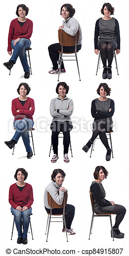 the same woman in different outfits sitting in a chair on white background - csp84915807