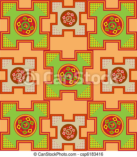 The sample of ornaments of different nations of the world, geometrical figures  - csp6183416