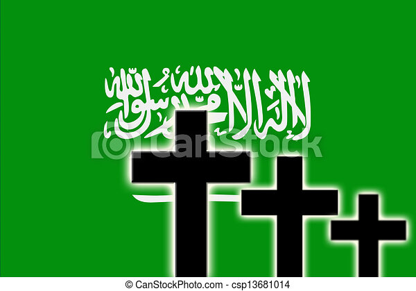 the saudi arabia flag and the silhouettes of tombstones crosses