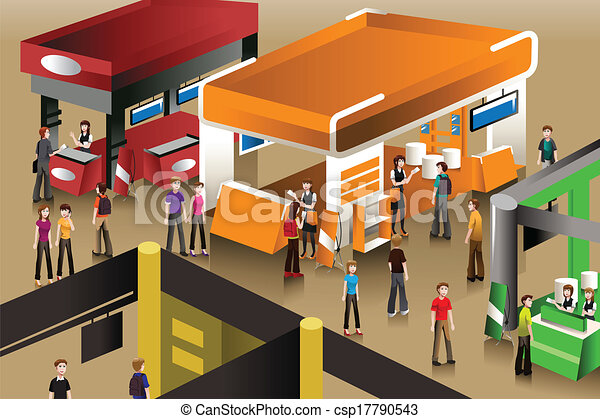 Small Exhibition Stand Vector : The scene at an exhibition booths a vector illustration of